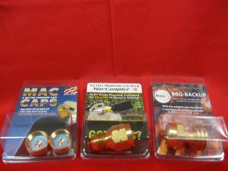 Combo Pack Mac Coupler BBQ Propane Tank Refill Adaptor & Brass Caps