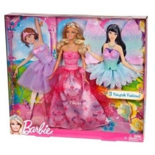 Barbie Doll 3 Fairytale Fashions Princess Ballerina Fairy Outfits New