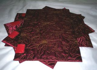 NIP Christmas Holiday Poinsettia 4P Placemat Set Quilted Satin