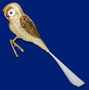 Barn Owl Old World Christmas Glass Brush Tail Clip on Owl Bird