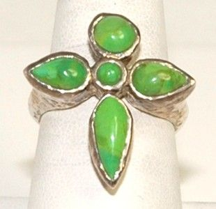 Vintage Barse 925 Sterling Silver Green Turquoise Cross Ring Size 6 5
