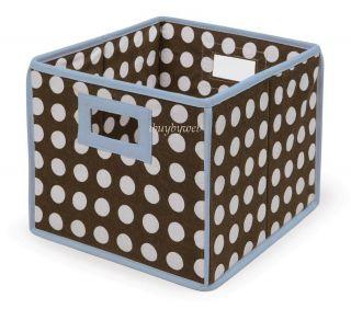 Blue Brown Polka Dot Nursery Basket Storage Cube 2 Set