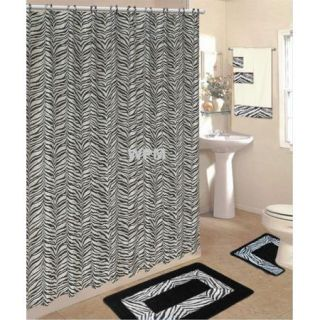 Complete Bath Accessory Set Black Zebra Animal Print Rugs Shower