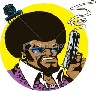 Gangster  70s Brother with Hair Pick and Smoking Gun Royalty Free