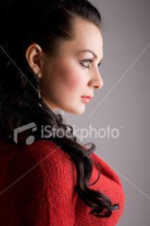 Profil, Femmes, Visage, Vue de côté, Personnes féminines  Stock