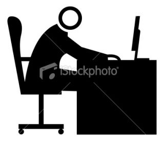 Man at desk icon Royalty Free Stock Vector Art Illustration