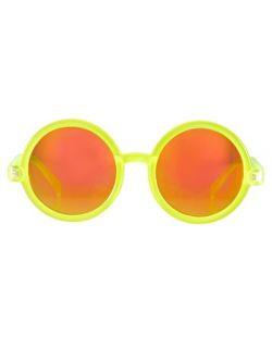 Rosa  Gafas de sol redondas con lentes de espejo rosas de  en