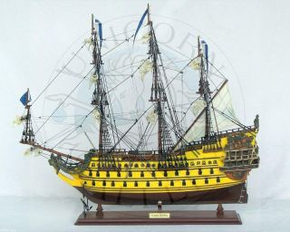 READY TO DISPLAY MODEL BOAT OF FRENCH WAR SHIP SOLEIL ROYAL WITH