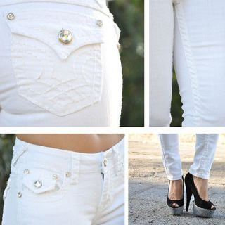 White Skinny Jeans with Rhinestone buttons from LA IDOL 1756NR