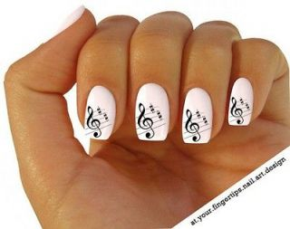 x20 NAIL ART WRAP WATER TRANSFERS STICKERS/DECAL​S BLACK SHEET MUSIC