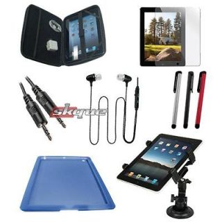 items Accessory Blue Silicone Skin case+Car Mount For Apple New Ipad