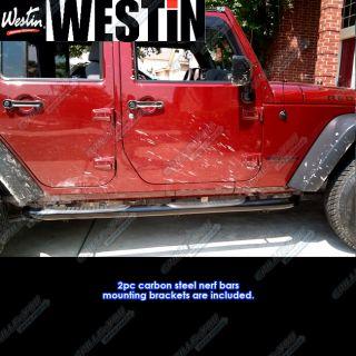 07 12 Jeep Wrangler 4Dr Black Nerf Bars (Fits Wrangler 2011 Jeep