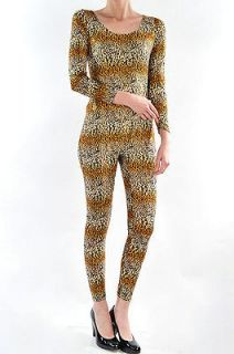 Sexy cheetah leopard print catsuit unitard bodysuit, long sleeve