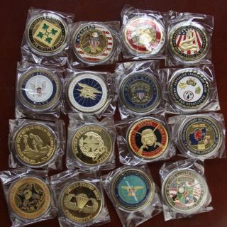 Lot of 16 Different Military Challenge Coins /S543 ARMY Rangers Navy