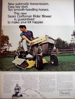 1969  craftsman riding mower model 9671 vintage ad time left $ 9