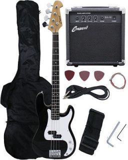 Newly listed NEW Crescent BLACK Electric Bass Guitar Combo+Strap+Gi