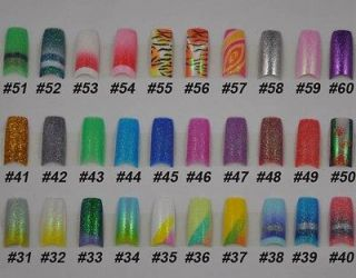 NEW 30 Different Stunning Glitter Designs French False Nail Art Tips