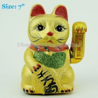 Chinese Japaniess Feng Shui Lucky Cat Hand Waving Wealth Fortune 7