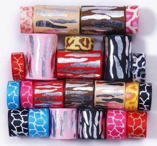 FE 23 YDS 3/8 5/8 1 1.5 mix leopard zebra print hot new grosgrain