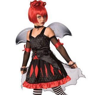 Gothic Batty Princess 8 10 Halloween Costume Child Girl Black Red Bat