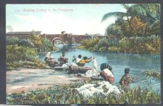 philippines postcard washing clothes launderer costumes from argentina