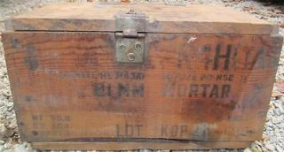 Vintage Jefferson Proving Ground Wooden Ammo Box 81 MM Mortar R4HUA