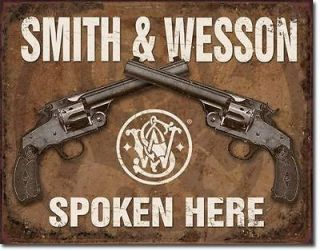 Nostalgic SMITH & WESSON Spoken Here Tin Sign Gun Pistol Weapon