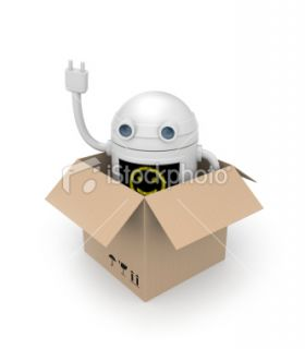 Robot from cardboard box Royalty Free Stock Photo
