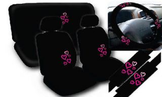 11pc Love Story Pink Hearts Black Complete Car Seat Cover Full Set STD