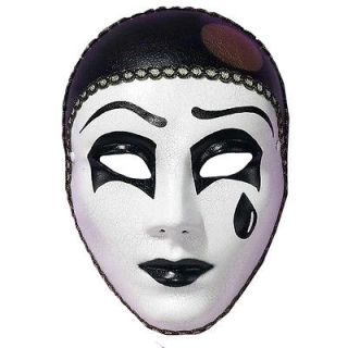 Black White Pierrot Sad Clown Mime Masquerade Costume Mask Adult