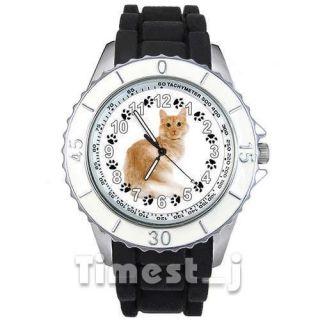 Turkish Angora Kitten Cat Mens Ladies Black Jelly Silicone Wrist Watch