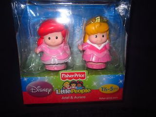 Fisher Price Little People ARIEL & AURORA Figures 4 Princess Songs