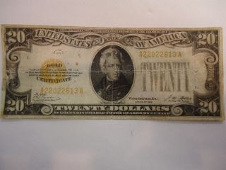 1928 twenty dollar gold certificate note nice time left $