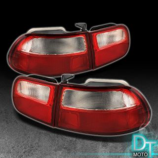 92 95 HONDA CIVIC 3DR 3DOOR HATCH BACK Si CX DX RED CLEAR TAIL LIGHTS