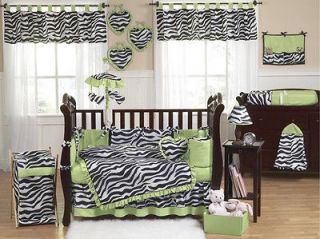 BLACK WHITE GREEN ZEBRA 9pc BABY GIRL CRIB COMFORTER BEDDING SET JOJO