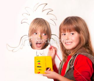 stock photo 18444662 little girl drawing