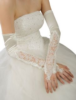 16 Extra Long Over elbow Satin Lace Gloves Fingerless Wedding Bridal