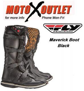 Fly Racing Maverick Dirt Bike Boots MX Black Size Y6 Youth Kids