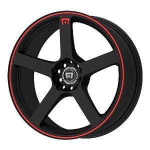 17x7 motegi mr1167 wheel rim 4x108 matte black red trim