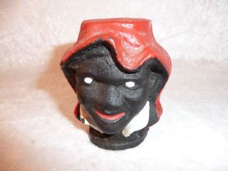 Vintage Black Americana Two Sided Face CAST IRON BANK, Coin Bank