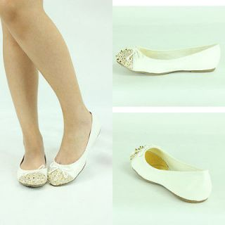 NEW WHITE ROUND TOE GOLD SPIKE STUDDED STUDS BOW TIE BALLET FLAT