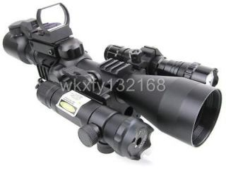 Mil Dot Optics Sniper Rifle Scope /QD Green Laser /501B Torch/223 R&G