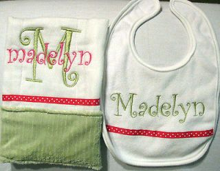 Bright Pink and Green Minky Personalized Embroidered Burp Cloth and