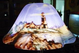 Pairpoint reverse painted scenic table lamp lighthouse  14271