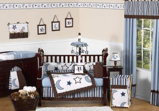 Newly listed BLUE WHITE STARS MOONS BABY CRIB BEDDING SET FOR NEWBORN
