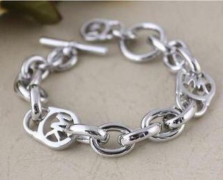 New Silver Michael Kors Logo Lock Charm Bracelet $95 freeshipping