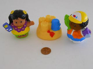 Fisher Price Little People Lot of 3 Beach Fun Set Michael Sand Castle