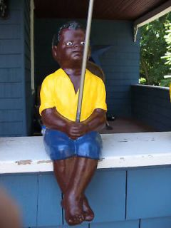 BLACK FISHING BOY STATUEW. FREE BAMBOO CANE POLE (LAWN JOCKEY
