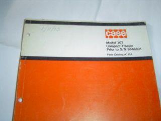 CASE 107 lawn garden tractor parts catalog manual