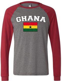 Ghana Country Flag Mens Raglan T Shirt Baseball Tee Ghanese World Cup